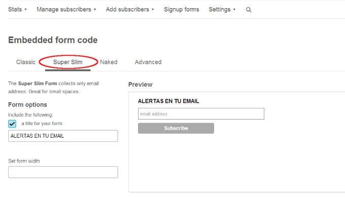 mailchimp formulario
